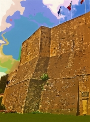 Ancien donjon - English: posterized image of the donjon of argentan, france
