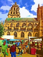 Eglise Saint-Germain - English: crowded market in the churches market square