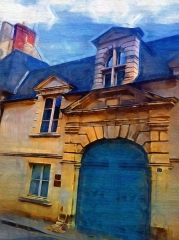 Ancien hôtel du comte de Lonlay - English: entrance portal to house in front of saint Martins