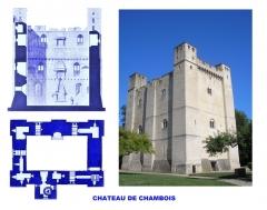 Château fort - Français:   Château de Chambois, Orne (montage: image Commons + images du domaine public modifiées)