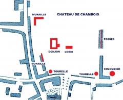 Château fort - Français:   Chambois, Orne, Vestiges du château (image du domaine public modifiée)