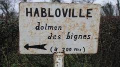 Dolmen dit Pierre-aux-Bignes - Français:   Panneau de l\'entrée du dolmen des Bignes