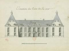 Château - Deutsch: Zeichnung der Hoffassade des Schlosses Médavy