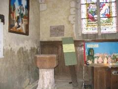 Eglise - English: Baptismal font in St. Aubin de Tourouvre where Robert Giguere was baptized in 1616.