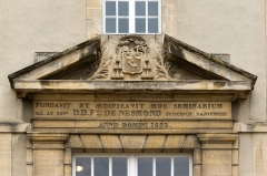 Ancien séminaire - English: Pediment at the entrance of the former seminary, Bayeux, Calvados, Normandy, France.