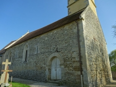 Eglise Saint-Pierre - Français:   Façade occidentale et mur nord de la nef de l\'église de Boulon (Calvados) appareillés en arête-de-poisson