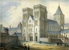 Maison, dans la cour du Musée des Antiquaires de Normandie - English: Abbaye aux Dames, Caen in the 1830s