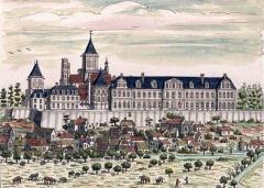 Maison, dans la cour du Musée des Antiquaires de Normandie - English: Abbaye aux Dames, Caen in 1702