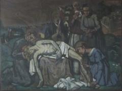 Eglise - Français:   Peinture de Jean Hébert-Stevens intitulée \'Pieta\' et datée de 1920. Conservée dans l\'église Saint-Denis de Cambremer. Don de Pascal Bony en mémoire de son fils Arthur Bony.