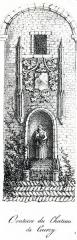 Ancien château fort - Français:   Lithographie d\'un détail de la chapelle du château de Courcy en 1826
