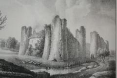 Ancien château fort - Français:   Lithographie d\'Engelmann montrant le château de Courcy en 1826