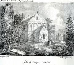 Eglise Saint-Gervais-Saint-Protais - Français:   Lithographie église de Courcy (Calvados)