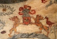 Ferme de la Rançonnière, dite aussi manoir de Biéville -  Fresque peinte dans la tour ronde