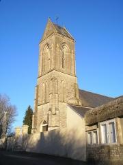 Eglise - Français:   Ellon (Normandie, France). Le clocher de l\'église Saint-Pierre.