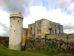 Château fort, actuellement collège -  Calvados, Falaise. Château de Guillaume Le Conquérant: la basse-cour, la tour Talbot, les donjons carrés et l'avant-corps du XXe siècle en béton.