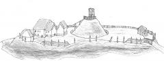 Château d'Olivet (motte féodale) - English: Motte and bailey castle at Olivet a Grimbosq, after design in Chateau Gaillard, XX, p.93
