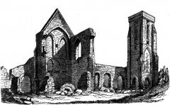 Ancienne abbaye - Français:   Ruines de l\'église du prieuré du Plessis-Grimoult (France, Normandie) en 1827.