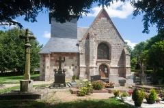 Eglise - Français:  Façade de l'église Saint-Sébastien de Préaux-Saint-Sébastien (France).