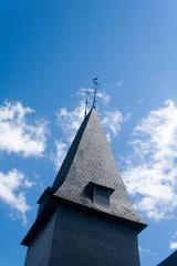 Eglise - Français:  Flèche du clocher de l'église Saint-Sébastien de Préaux-Saint-Sébastien (France).