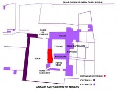 Ancienne abbaye - English: Plan de l'abbaye Saint-Martin-de-Troarn en 1778, 1911 et actuel