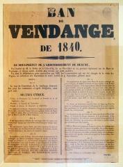 Hôtel des Ducs de Bourgogne - Français:   Ban des vendanges - 1840