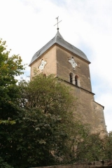 Eglise -  The tower of Eglise Ste. Barbe, in Chambolle-Musigny, France.