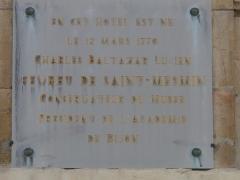 Hôtel Fevret de Saint-Mesmin - Français:   Dijon - Hôtel Févret de Saint-Mesmin - Plaque commémorative