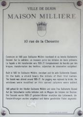 Maison dite Maison Millière - Français:   Plaque d\'information trilingue (français, anglais, allemand) de la maison Millière, à Dijon