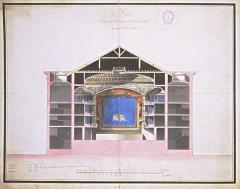 Théâtre - Français:   Plan aquarellé  par Jacques Cellerier en 1787 représentant la coupe sur la longueur du théâtre municipale de Dijon,46x57 cm