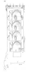Château de Montfort (ruines) -  ... La figure 48 donne la coupe de cet ouvrage sur la ligne op. Des pinacles, dressés sur le crénelage supérieur, font reconnaître au loin le sommet de la tour. Le couronnement du donjon de Coucy présente une disposition analogue. Ces pinacles pouvaient d'ailleurs faciliter l'intelligence des signaux, puisqu'une bannière posée au droit de tel pinacle indiquait un mouvement de l'ennemi, ou les dispositions prises par la garnison, ou la nature des secours qu'elle attendait ...