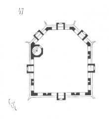 Château de Montfort (ruines) -  ... Un escalier à vis monte à la plate-forme, dont nous donnons le plan figure 47. Cette plate-forme est défendue par un crénelage, et, sur chaque face, par un mâchicoulis avec meurtrière. La figure 48 donne la coupe de cet ouvrage sur la ligne op. Des pinacles, dressés sur le crénelage supérieur, font reconnaître au loin le sommet de la tour. Le couronnement du donjon de Coucy présente une disposition analogue. Ces pinacles pouvaient d'ailleurs faciliter l'intelligence des signaux, puisqu'une bannière posée au droit de tel pinacle indiquait un mouvement de l'ennemi, ou les dispositions prises par la garnison, ou la nature des secours qu'elle attendait ...