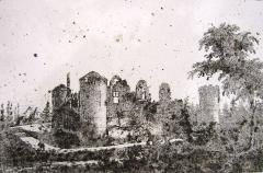 Château - Français:   Ruines du château de Villaines-en-Duesmois au début du XIX°