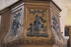 Eglise - Deutsch: Katholische Kirche Saint-Cyr-et-Sainte-Julitte in Volnay im Département Côte-d'Or (Bourgogne-Franche-Comté/Frankreich), Kanzelkorb