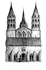 Eglise Saint-Etienne - Deutsch: Saint-Etienne Nevers, Fassade vor 1792, alte Grafik
