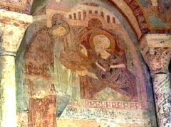 Château des Moines de Cluny -  Berzé-la-Ville, Fresko in der Chapelle des Moines: hl. Blasius