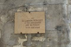 Couvent des Ursulines - Français:   Inscription près du musée des Ursulines à Mâcon.