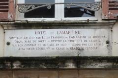 Hôtel de Lamartine - Français:   Plaque au-dessus de la porte d\'entrée de l\'hôtel de Lamartine.