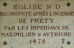 Eglise - English: Plaque on the wall of the church Notre-Dame in Préty (Saône-et-Loire, France).
