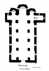 Eglise et tombeau de Lamartine - Français:   Saint-Point plan de l\'église