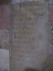 Eglise de la Madeleine - English: Gravestone in the church Sainte-Madeleine in Tournus (Saône-et-Loire, France). This gravestone is used for the pavement but the photo has been rotated to facilitate text reading.