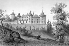 Château de Chastellux - Deutsch: Zeichnung des Schlosses Chastellux; Eingangsfassade