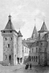 Château de Chastellux - Deutsch: Zeichnung des Innenhofs von Schlosses Chastellux