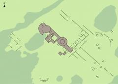 Ruines gallo-romaines des Fontaines Salées (également sur commune de Saint-Père) - Français:   Plan des vestiges du site archéologique celtique et gallo-romain des Fontaines salées, à cheval entre Foissy-lès-Vézelay et le sud de la commune de Saint-Père, Yonne, Bourgogne, France.   Bois   Prairie