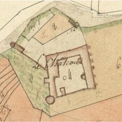 Maison-forte - Français:   Plan du château de Pisy réalisé en 1808 lors de l\'élaboration du cadastre.