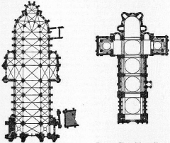 Cathédrale Saint-Etienne - English: Figs. 6 & 7.—Plan of Sens & Angouleme Cathedrals from Encyclopædia Britannica 1911