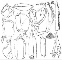Grottes préhistoriques - English: Grotte du Trilobite, Arcy-sur-Cure, Yonne, Burgundy, France. Taken from Abbé Alexandre Parat, Les Grottes de la Cure (côte d'Arcy): La grotte du Trilobite, plate 1 (between pp. 32-33). Stone tools.