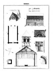 Eglise - Français:   1. Vue depuis le sud-ouest avec le clocher démoli après 1850; 2. mur latéral sud de la nef; 3. plan de la nef; 4. orientation de la nef ; 5. plan du clocher; 6. élévation ouest avec le clocher démoli après 1850, sans le dôme (reconstitution de l\'état au XIIe siècle); 7. arc de la baie centrale de la façade occidentale; 8. croix en bas-relief sur le pignon de la façade occidentale; 9. mouluration de la porte bouchée au milieu du mur sud.