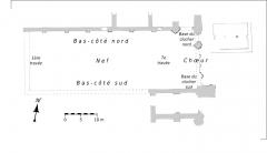 Ancienne abbaye Saint-Arnould - Français:   Plan des vestiges de l\'église. En gris, les éléments conservés en élévation.