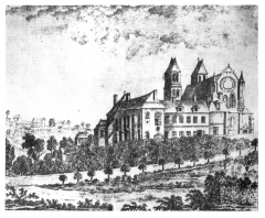 Ancienne abbaye Saint-Arnould - Français:   Vue depuis l\'ouest en 1795.