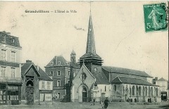 Eglise -  Carte postale ancienne éditée par Sinet   GRANDVILLIERS (Oise): l'Hôtel de Ville